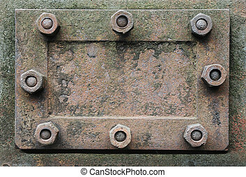 metal hatch with nuts - rusty metal hatch with nuts