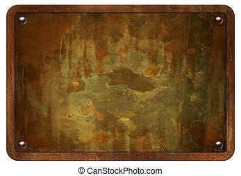 Rusty Metal Plate - Stock image of rusty metal plate...