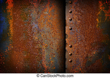rusty metal plate with a seam