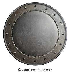 Rusty metal round shield isolated 3d illustration