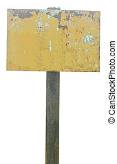rusty metal sign board isolated on white