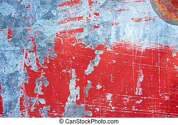 scratched paint - Rusty metal with red scratched paint. ...