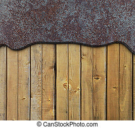 rusty metallic and wooden plate