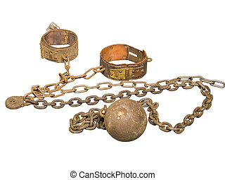 Rusty Old Ball and Chain used in an 1852 Jail (isolated)