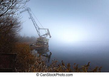 Rusty old industrial dock cranes at Chernobyl Dock, 2019