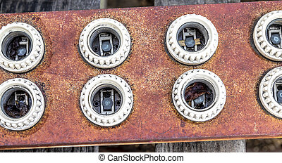 Rusty old light fixture light sockets