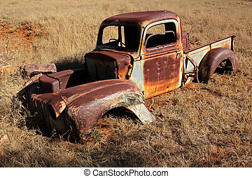 Rusty old pickup truck - Wreck of a rusty old pickup truck ...