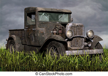 Rusty old Truck in field of grass - Vintage old pickup truck...
