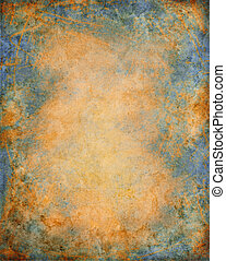 A textured paper background with an aged rust and patina effect.