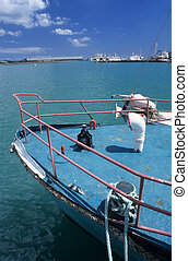 Rusty prow of a boat Port Louis harbour Mauritius Island - ...