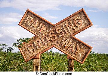 Rusty Railway Crossing sign, Kenya