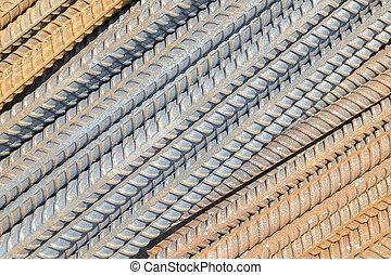Rusty rebar steel used in construction background texture