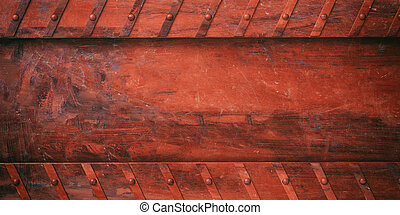 Rusty red metal plate with bolts background, banner. 3d illustration