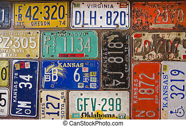 rusty retro license plates