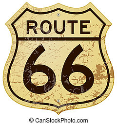 Rusty Route 66 - Vintage roadsign illustration full of rust ...