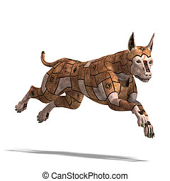 rusty scifi dog of the future.3D rendering with clipping ...