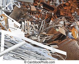 Rusty scrap metal in a junkyard
