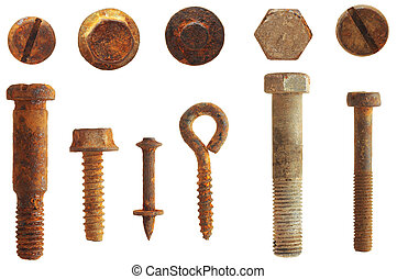 rusty screws and bolts isolated on white