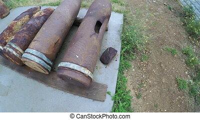 Rusty shells caliber guns - RUSSIA, SEVASTOPOL, OCTOBER,...