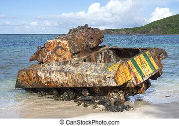 Rusty Sherman tank on Flamenco Beach of Isla Culebra - Rusty...