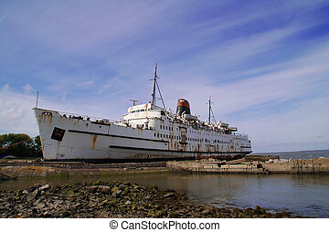 Rusty Ship - A rusty old passenger ship being left to rot in...