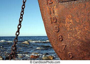 Rusty ship and sky