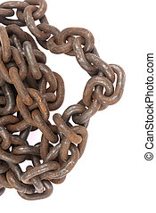 rusty ship chain isolated on a white background