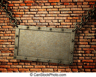 Rusty signboard over brick wall