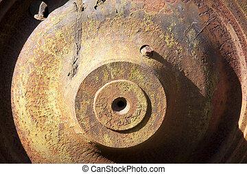 Rusty steel wheels