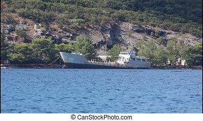Rusty sunken warship
