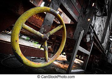 rusty train wagon details