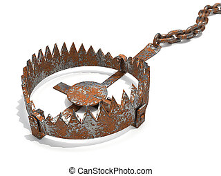 Rusty trap - Illustration of rusty trap suggesting risk - 3d...