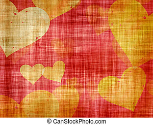 Rusty Vintage Paper Texture with painted hearts