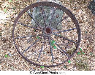 Rusty wagon wheel