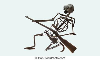 Rusty warrior , war concept - conceptual warfare stop motion...