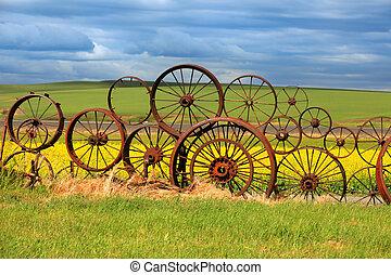 Rusty wheels fence