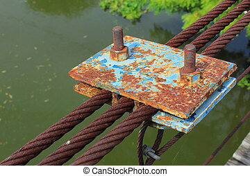 rusty wire rope sling of the part of the bridge.