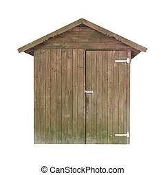 Rusty wooden shed - Shabby old shed isolated on white...