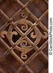 Rusty wrought iron ornament