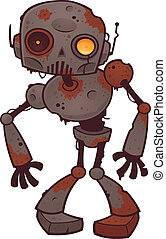 Rusty Zombie Robot - Vector cartoon illustration of a rusty...
