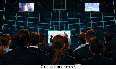 rusztowanie, cyfrowy, ludzie, oglądając, handlowy