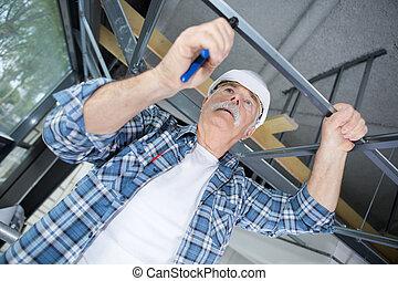 rusztowanie, pracownik, umiejscawiać, instalowanie, zbudowanie, senior