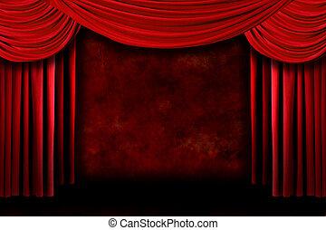 rusztowanie, teatr, czerwone tło, drapuje