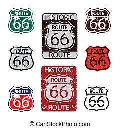 ruta, conjunto, 66, señal