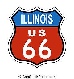 ruta, illinois, nosotros, 66, señal