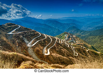 ruta, india, curvy, comercio, entre, caminos, china, seda