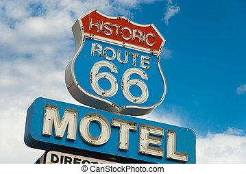 ruta, señal, histórico, california, 66, motel