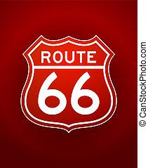 ruta, silueta, rojo, 66