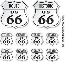 ruta, vector, negro, 66, blanco, pegatinas