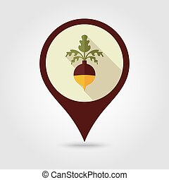 Rutabaga or Swede flat pin map icon. Vegetable - Rutabaga or...